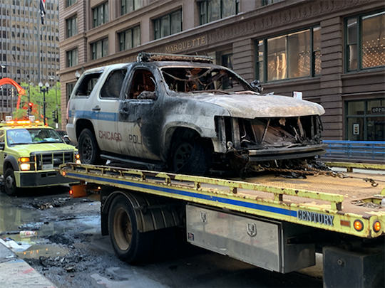burned police car